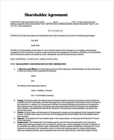 Sample Shareholder Agreement Forms - 8+ Free Documents in Word, PDF