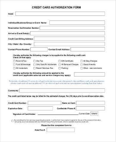 Sample Credit Authorization Forms - 9+ Free Documents in Word,PDF