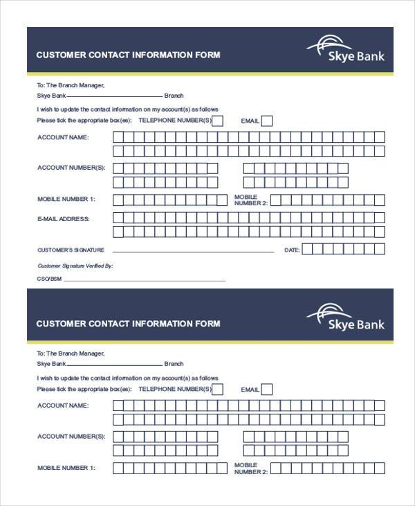 Sample Customer Information Forms - 9+ Free Documents in Word, PDF