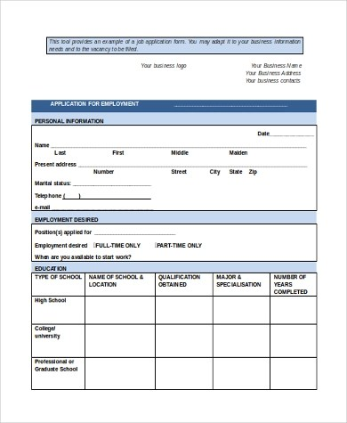 Standard Job Application Form Samples - 8+ Free Documents in Word, PDF - employment application form