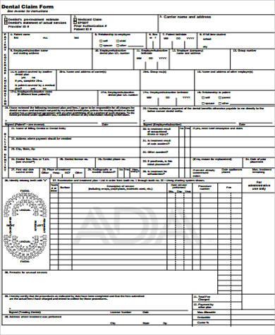 Sample Dental Claim Form - 9+ Free Documents in Word, PDF - claim form in pdf