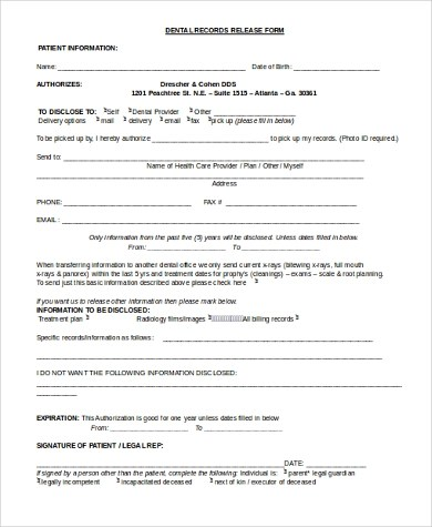 Dental Records Release Form Dentist Doctors Note Template Free - sample medical records release form