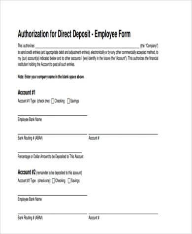 sample direct deposit form