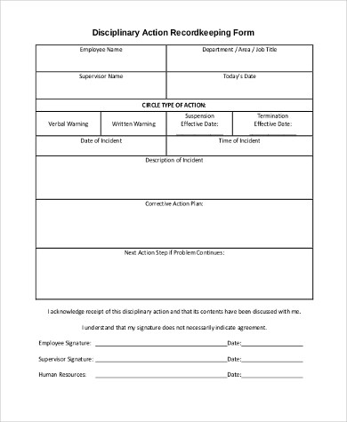Sample Employee Disciplinary Action Form - 7+ Free Documents in - employee record form