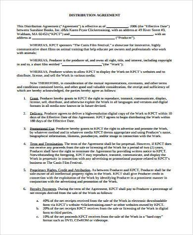 Sample Distribution Agreement Forms - 7+ Free Documents in Word, PDF - distribution agreement template