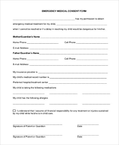 Sample Child Medical Consent Form - 6+ Free Documents In Word - medical form in pdf