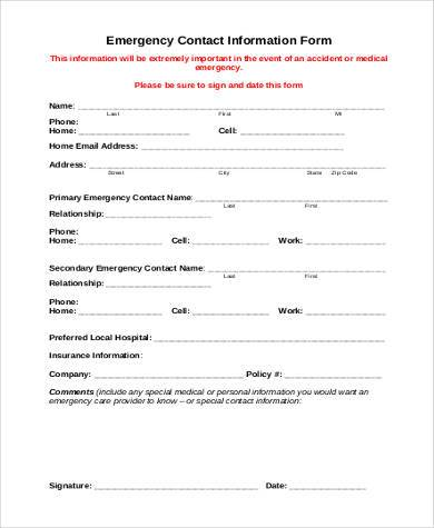 Sample Contact Information Forms - 9+ Free Documents in Word, PDF - contact information form