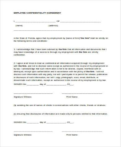 Confidentiality Agreement Form Samples - 9+ Free Documents in Word, PDF - employee confidentiality agreement