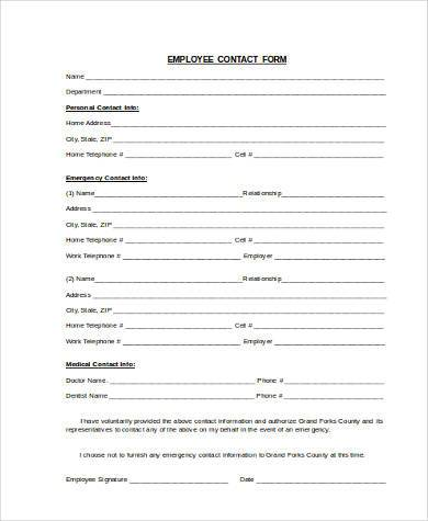 Sample Contact Information Forms - 9+ Free Documents in Word, PDF - employee information form