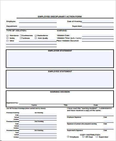 Disciplinary Action Form Samples - 9+ Free Documents in Word, PDF - action form in pdf