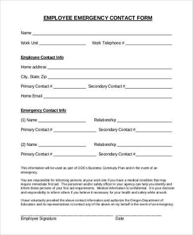 Employee Emergency Contact Form Samples - 8+ Free Documents in Word, PDF
