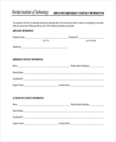 Sample Employee Emergency Contact Form - 6+ Free Documents in Word, PDF
