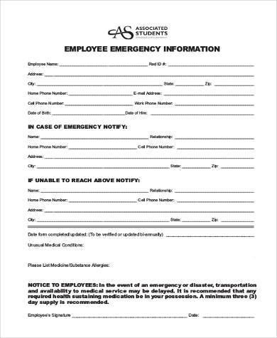 emergency information form - Solidgraphikworks