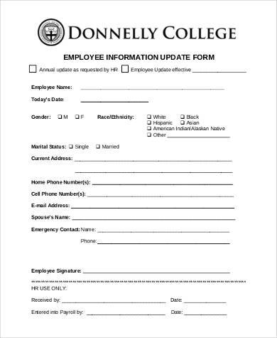 Sample Employee Information Forms - 8+ Free Documents in Word, PDF - employee update form