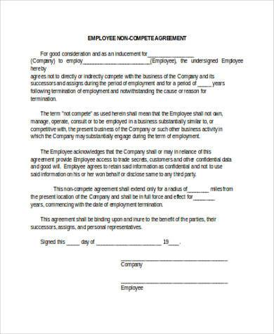 Sample Non Compete Agreement Forms - 8+ Free Documents in Word, PDF - business non compete agreement