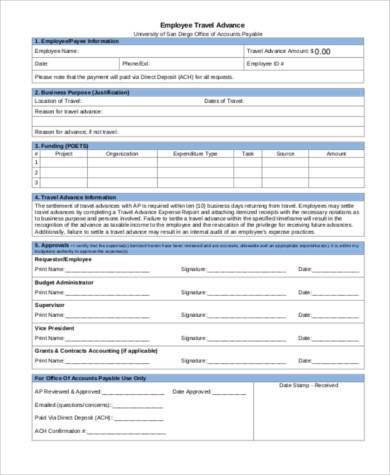 Sample Travel Advance Forms - 8+ Free Documents in PDF - employee advance form