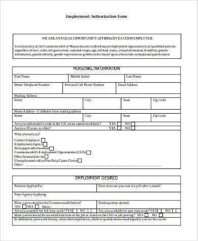 Employment Authorization Sample Forms - 9+ Free Documents in Word, PDF - sample employment authorization form