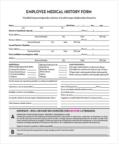 Sample Employment History Forms - 9+ Free Documents in Word, PDF - sample medical history form