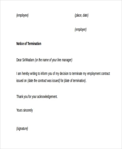 Employment Termination Sample Letters - 9+ Free Documents in Word, PDF - employee termination form