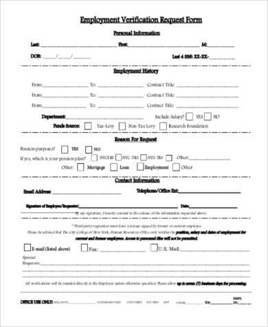 Printable Employment Verification Form  NodeResumeTemplate