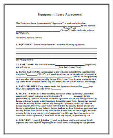 Sample Equipment Lease Forms - 8+ Free Documents in Word, PDF - equipment lease agreement template