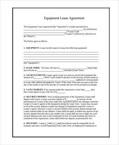 Commercial Lease AgreementEquipment Lease Agreement Equipment - sample equipment rental agreement