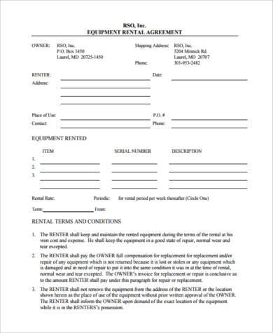 Sample Equipment Contract Forms - 7+ Free Documents in PDF - sample equipment rental agreement