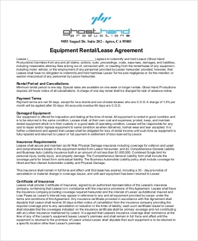 Sample Equipment Lease Agreement Form - 9+ Free Documents In Word - rental lease agreement