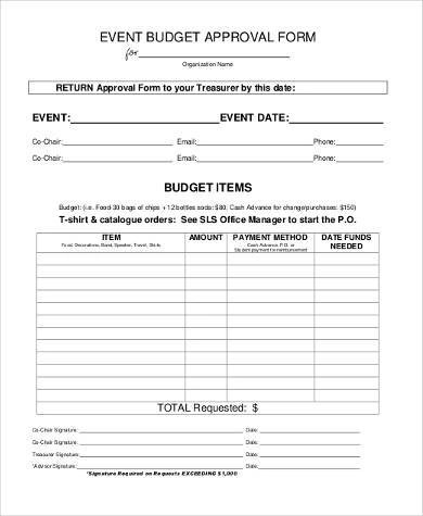 Sample Event Budget Forms - 8+ Free Documents in Word, PDF - form for budgeting