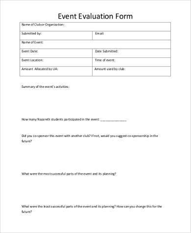 Event Evaluation Form Samples - 9+ Free Documents In Word - sample presentation evaluation form example