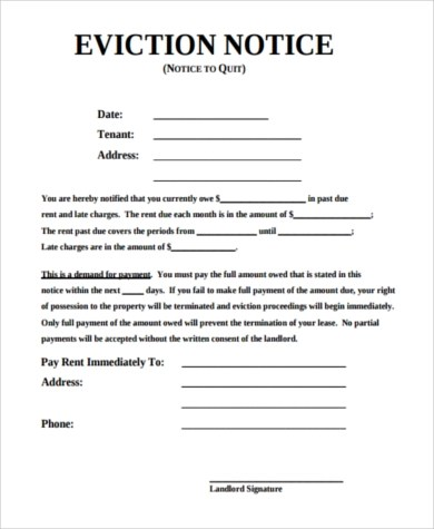 Sample Eviction Notice - 7+ Free Documents in PDF - eviction notice template