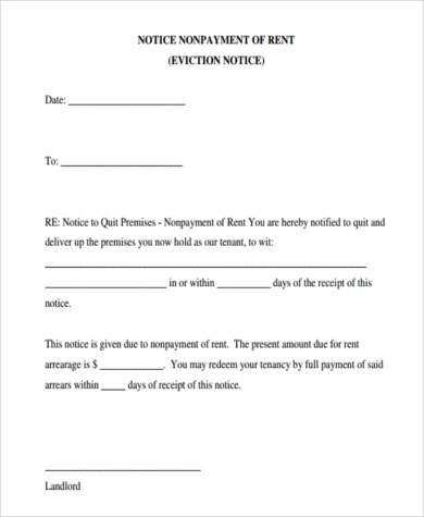 Printable Eviction Notice Form - 7+ Free Documents in Word, PDF - notice form example