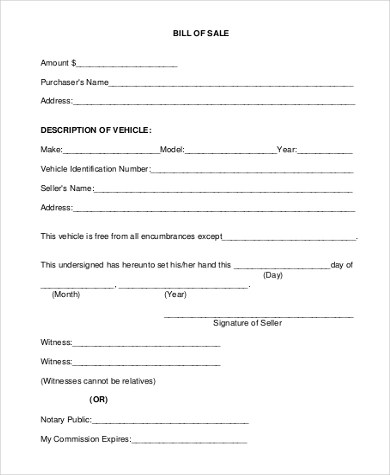 Bill of Sale for Car - 7+ Free Documents in PDF, xls