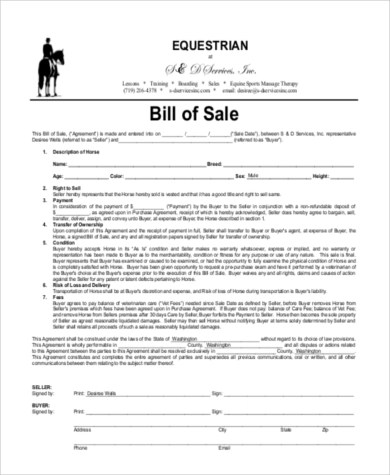 Horse Bill of Sale Samples - 8+ Free Documents in Word, PDF - bill of sales generic