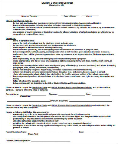 Sample Student Behavior Contract Forms - 9+ Free Documents in Word, PDF