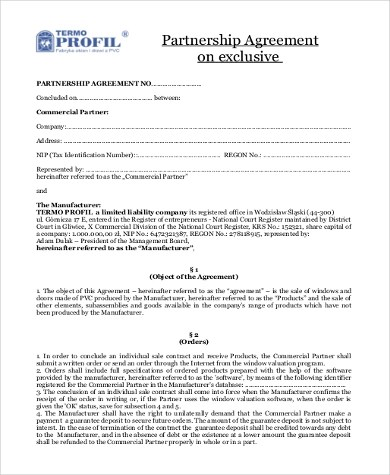 Partnership Agreement Sample - 9+ Free Documents in Word, PDF - partnership agreement free template