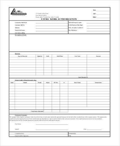 Sample Work Authorization Form - 9+ Free Documents in Word, PDF - Work Authorization Form