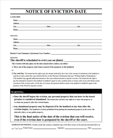 Sample Eviction Notice - 7+ Free Documents in PDF - letter of eviction sample