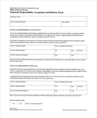 Sample Financial Responsibility Forms - 8+ Free Documents in PDF - financial release form