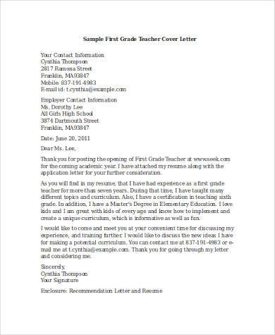 Cover Letter Examples for Teacher - 8+ Free Documents in Word, PDF - First Year Teacher Cover Letter