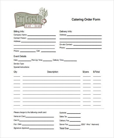 Sample Food Order Forms - 8+ Free Documents in PDF - catering order form