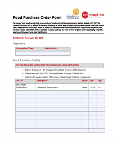 Sample Food Order Forms - 8+ Free Documents in PDF - purchase order form free