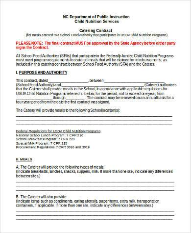 Catering Contract Form Samples - 8+ Free Documents in Word, PDF - catering contract template