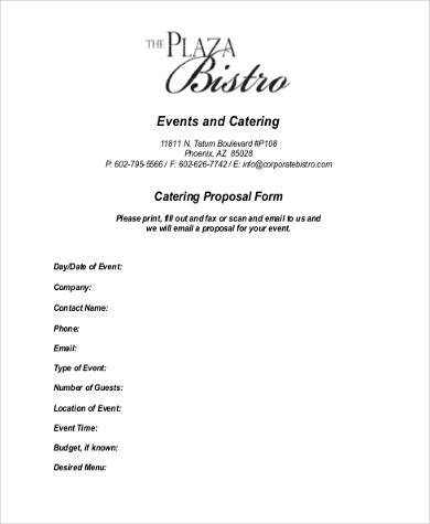 Sample Catering Proposal Forms - 8+ Free Documents In Word - sample catering proposal template