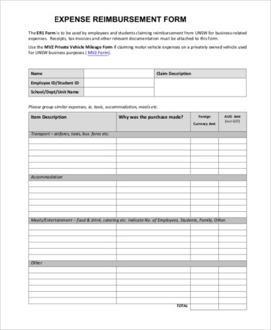 Sample Expense Reimbursement Form - 11+ Free Documents in Word - expense reimbursement form
