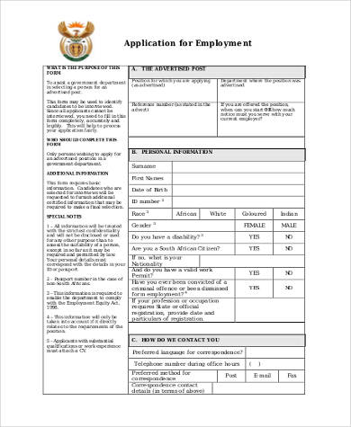 Sample Generic Application Forms for Employment - 9+ Free Documents - Generic Application For Employment