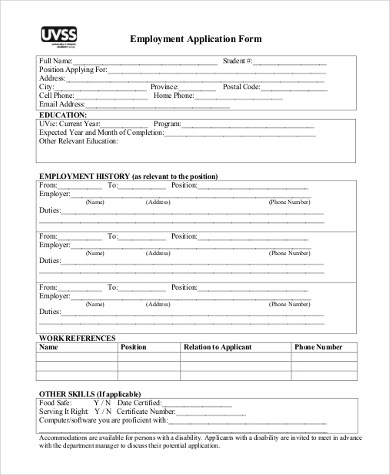 Generic Employment Application Form Samples - 8+ Free Documents in