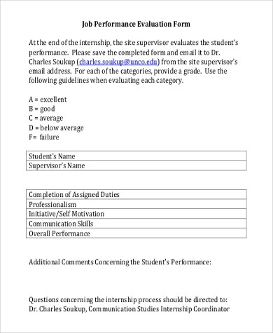Job Performance Evaluation Form Samples - 9+ Free Documents in - performance evaluation forms free