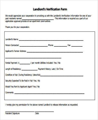 Landlord Verification Form Samples - 9+ Free Documents in Word, PDF - landlord employment verification form