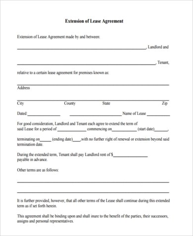 Sample Lease Extension Agreement Form - 9+ Free Documents in Word, PDF - lease extension agreement template